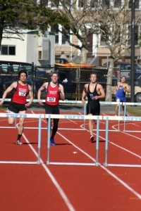 Racing with teammate Matt Collins at Tufts in Spring 2004.
