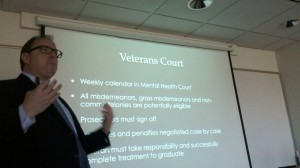 Attorney Brockton Hunter, a graduate of the University of Minnesota Law School and a national expert on veterans law, spoke to the class about veterans in the criminal justice system.