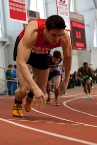 Coming out of the start at a BU Indoor Meet in 2009.